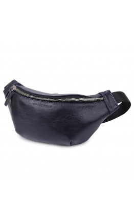 Черная кожаная мужская сумка на пояс GRANDE PELLE 11569