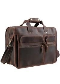 Коричневая мужская вместительная сумка из плотной кожи Р13042