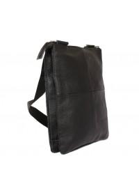 Удобная черная кожаная сумка на каждый день 7137