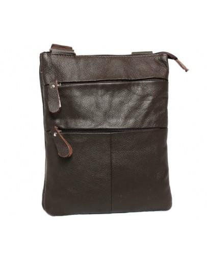 Фотография Модная и стильная кожаная сумка на плечо 7138 коричневая