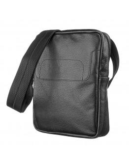 Черная мужская кожаная сумка на плечо SHVIGEL 13935
