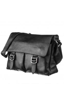 Черная кожаная мужская сумка на плечо Shvigel 13970