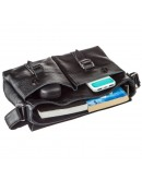 Фотография Черная кожаная мужская сумка на плечо Shvigel 13970