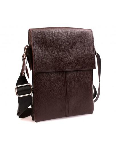 Фотография Мужская стильная кожаная сумка на плечо 7140k коричневая