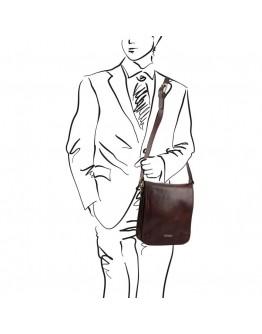 Черная фирменная мужская сумка на плечо Tuscany Leather TL141255 black