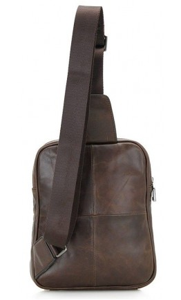 Коричневый кожаный мужской слинг Vintage 14395
