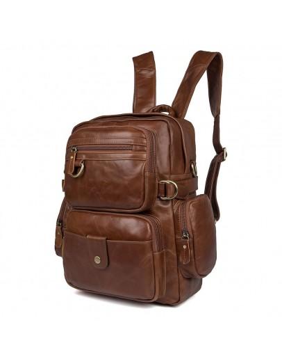 Фотография Кожаный рюкзак - сумка коричневая Vintage 14561