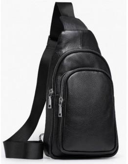 Мужской слинг черный кожаный Vintage 14623