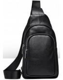 Фотография Мужской слинг черный кожаный Vintage 14623