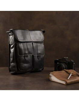 Черная кожаная сумка через плечо FR0001
