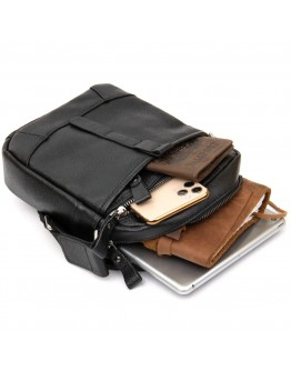 Мужская черная сумка кожаная на плечо Vintage 14652