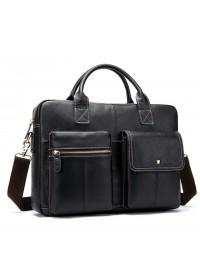 Кожаная сумка черная для ноутбука кожаная мужская Vintage 14662