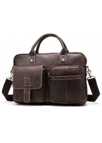 Коричневая мужская сумка из винтажной кожи Vintage 14667