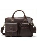 Фотография Коричневая мужская сумка из винтажной кожи Vintage 14667