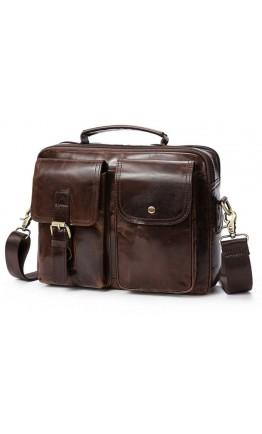 Мужская коричневая кожаная сумка на каждый день Vintage 14693