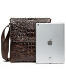 Фотография Коричневая сумка на плечо с тиснением под крокодила Vintage 14698