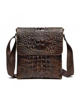 Коричневая сумка на плечо с тиснением под крокодила Vintage 14698