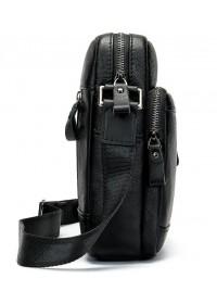 Черная кожаная мужская сумка на плечо Vintage 14701
