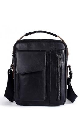 Мужская черная сумка на плечо и в руку Vintage 14708