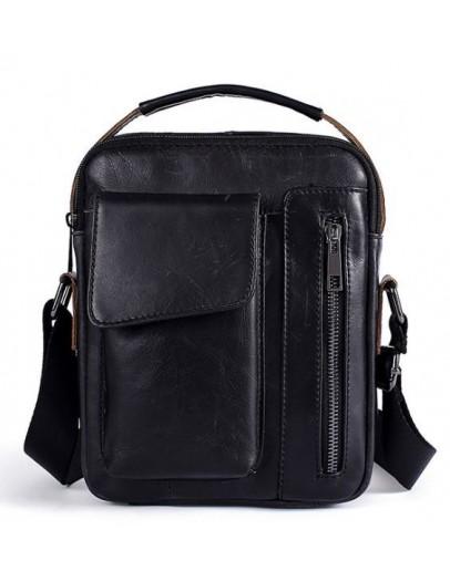 Фотография Мужская черная сумка на плечо и в руку Vintage 14708