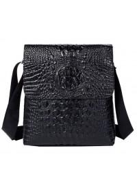 Черная кожаная мужская сумка с тиснением Vintage 14715