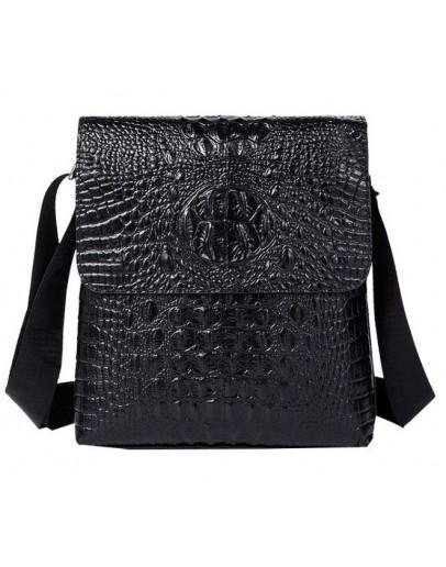 Фотография Черная кожаная мужская сумка с тиснением Vintage 14715