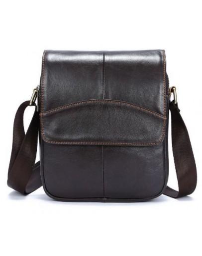 Фотография Коричневая мужская небольшая сумка кожаная Vintage 14733