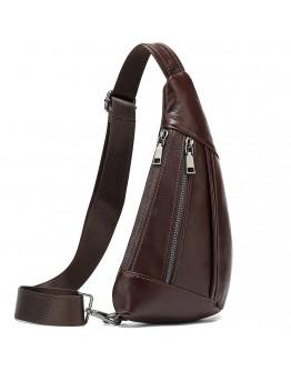 Сумка слинг мужская коричневая кожаная Vintage 14737