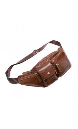 Коричневая мужская сумка на пояс Vintage 14739