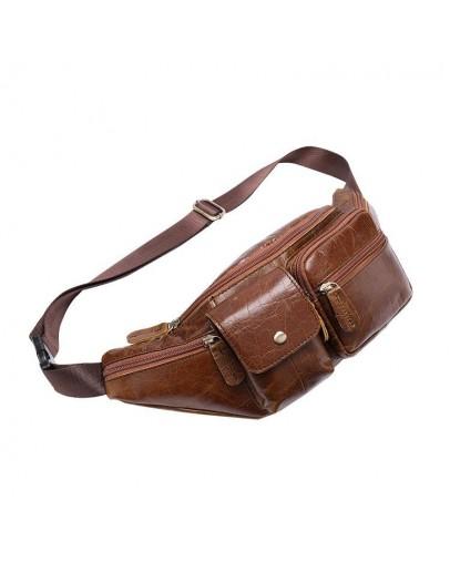 Фотография Коричневая мужская сумка на пояс Vintage 14739