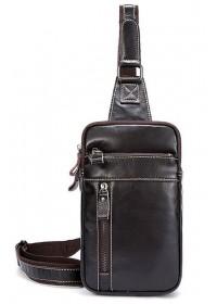 Коричневый кожаный мужской слинг - сумка на плечо Vintage 14741