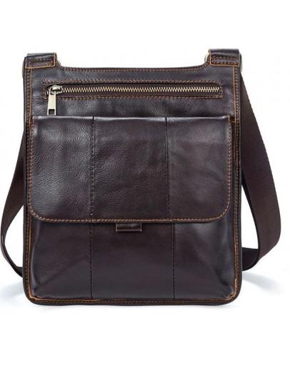 Фотография Коричневая сумка через плечо - планшетка кожаная Vintage 14742