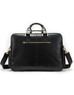 Черная мужская вместительная кожаная сумка Vintage 14756