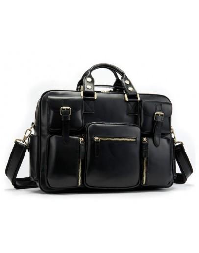 Фотография Черная мужская вместительная кожаная сумка Vintage 14756