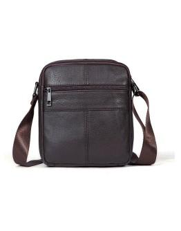Кожаная коричневая мужская сумка небольшая Vintage 14759