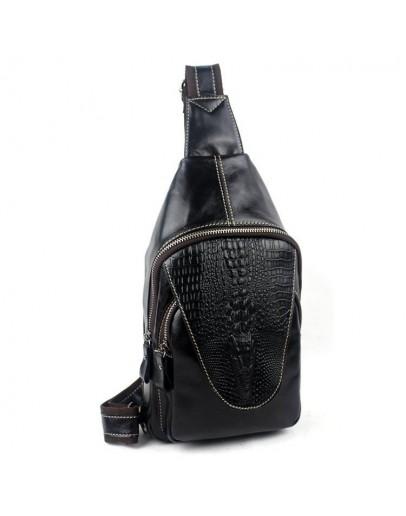 Фотография Черный мужской кожаный слинг Vintage 14760