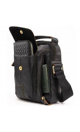 Черная мужская кожаная небольшая сумка Vintage 14765