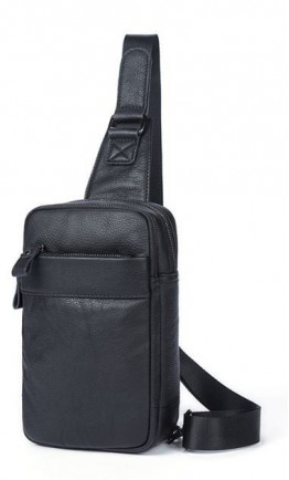 Черный мужской слинг кожаный Vintage 14772