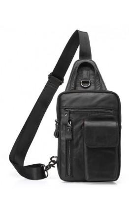 Черный мужской кожаный слинг Vintage 14777