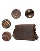 Фотография Коричневая кожаная винтажная сумка на плечо Vintage 14780