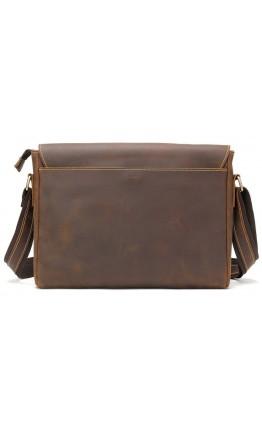 Коричневая кожаная винтажная сумка на плечо Vintage 14780