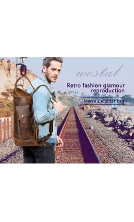 Вместительная мужская кожаная сумка на плечо - слинг Vintage 14782