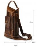 Фотография Вместительная мужская кожаная сумка на плечо - слинг Vintage 14782
