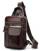 Фотография Слинг мужской кожаный коричневый Vintage 14786