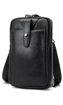 Мужская компактная кожаная черная сумка Vintage 14811