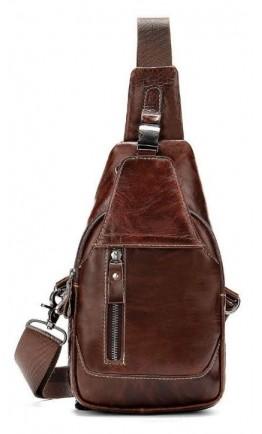 Слинг на плечо из гладкой коричневой кожи Vintage 14814