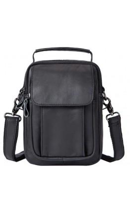 Черная сумка мужская кожаная барсетка Vintage 14816