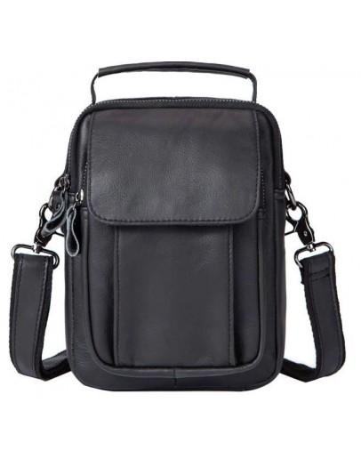 Фотография Черная сумка мужская кожаная барсетка Vintage 14816