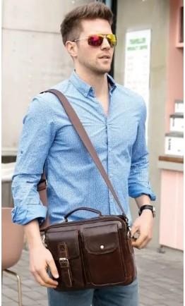 Коричневая мужская кожаная сумка - барсетка Vintage 14820