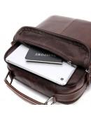 Фотография Коричневая кожаная сумка - барсетка Vintage 14835